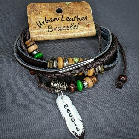 Montana Artistic Impressions Jewelry - Maggie Urban Leather Bracelet Personalized Name